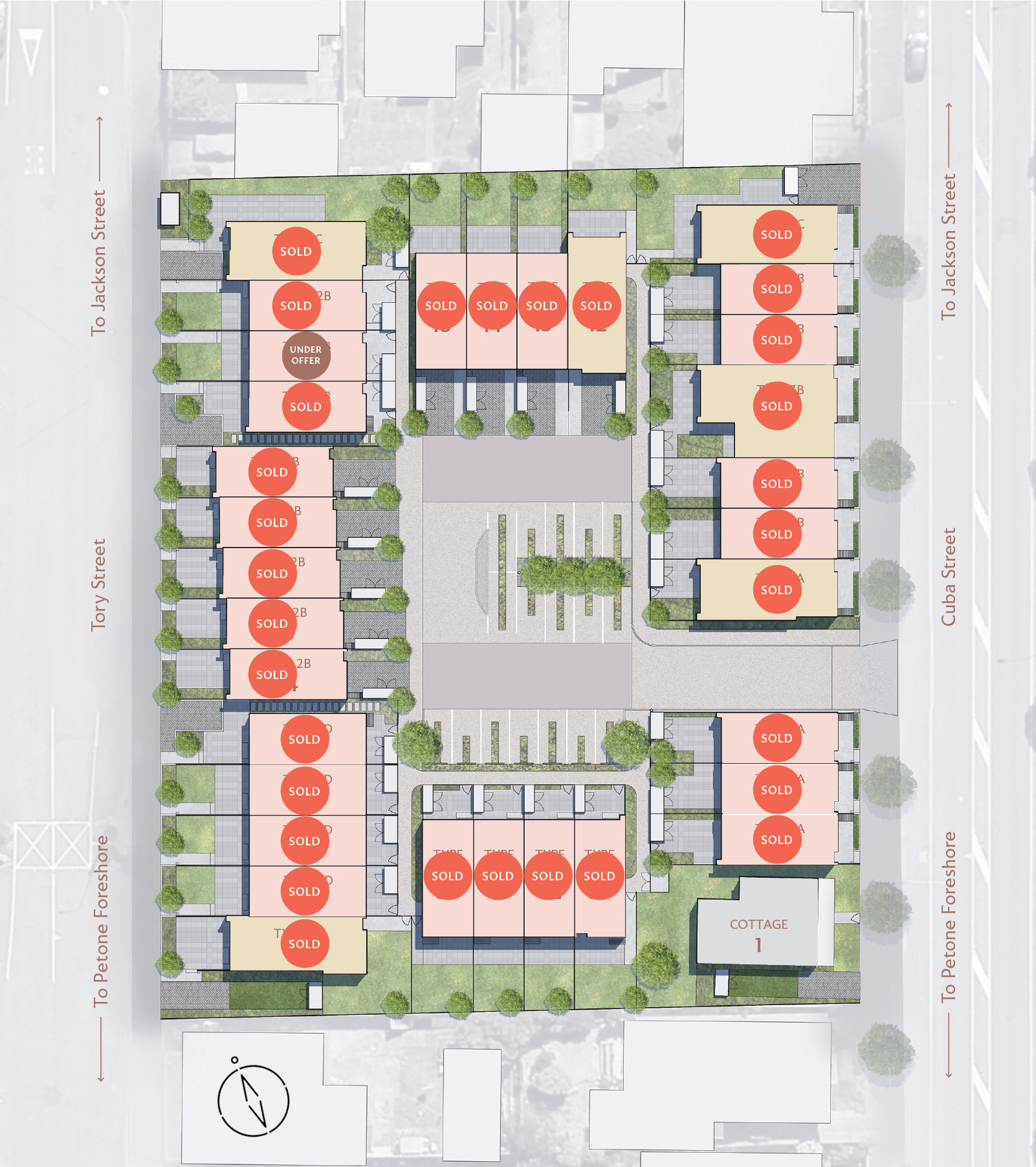 Master Plan image, showing available houses